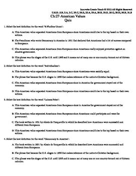 U.S. History STARR Quiz Ch-27: American Values