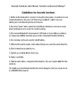 U.S. History Socratic Seminar Group Discussion: John Brown Terrorist or Martyr?