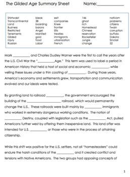 U.S. History Summary Sheets BUNDLE