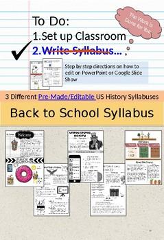 U.S. History Syllabus (pre-made and editable)