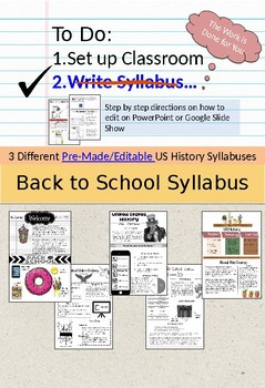 U.S. History Syllabus (pre-made and editable)