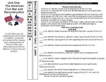U.S. History Tab Divider, FL EOC benchmarks, CIVIL WAR