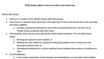 U.S. History - The 1950s Gallery Walk Document Analysis