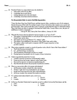 U.S. History - The Clinton Years Test (1992-2000)