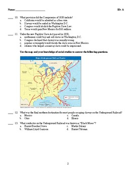 U.S. History - The Union in Crisis Test (1846-1861)