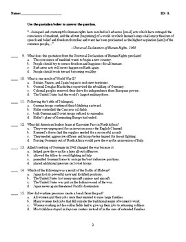 U.S. History - The United States in World War II Test (1941-1945)