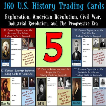 U.S. History Trading Cards - 160 Figures from Explorers to Social Reformers