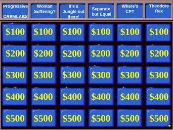 U.S. History:  U.S. Progressive Jeopardy PowerPoint Review