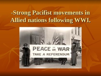 """U.S History-WWII: Factors behind the Allies policy of """"appeasement"""""""