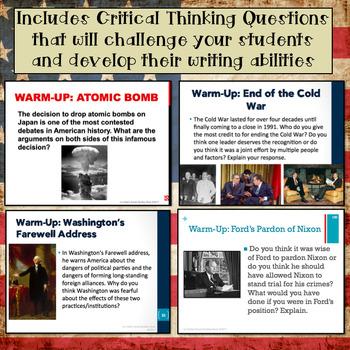 U.S. History Warm-Ups (Bellringers): Full Year!