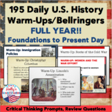 U.S. History Warm-Ups (Bellringers): Full Year!