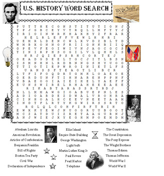 U.S. History Word Search Puzzle