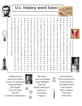 U. S. History Word Search Puzzle PLUS 50 States Word ...