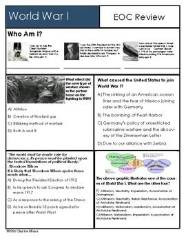 EOC Review U S History World War I Review