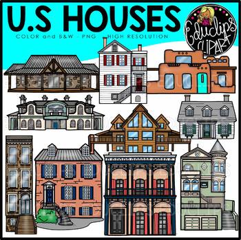U.S. Houses Clip Art Set {Educlips Clipart}