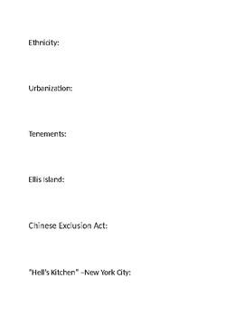 U.S. Immigration Era Homework Definitions