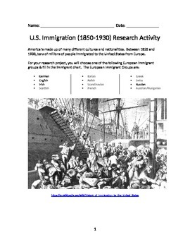 U.S. Immigration Research Activtity