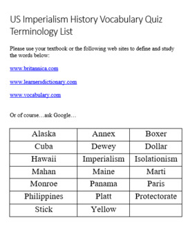 U.S. Imperialism History Vocabulary Quiz and Word List