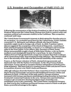 U.S. Invasion and Occupation of Haiti 1915–34 Article with Summary Assignment