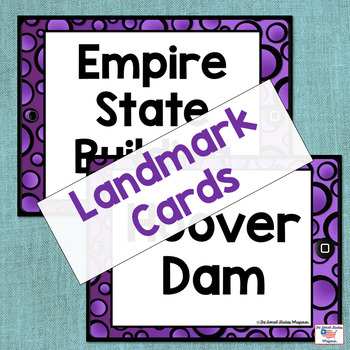 U.S. Landmark iSpy Matching Cards in Purple Polka Dots