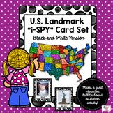 U.S. Landmark iSpy Matching Cards Set in Black and White