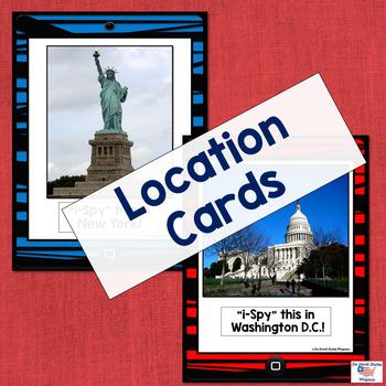 U.S. Landmark iSpy Matching Cards in Red and Blue Stripes