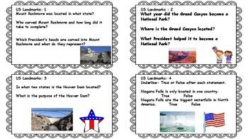 U.S. Landmarks Informational Task Cards