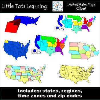 United States Map Clip Art {States, Regions, Time Zones, and Zip Codes}