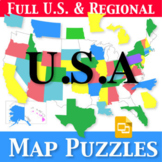 U.S. Map Puzzles | Regions, States, Capitals and Abbreviat