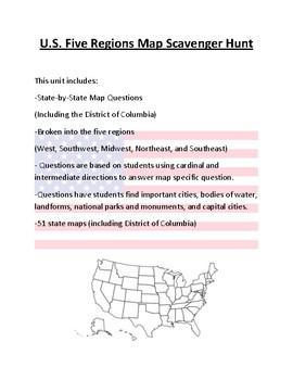 Us Map Scavenger Hunt U.S. Map Scavenger Hunt (5 Regions Bundle) by Mr Matthews Teacher