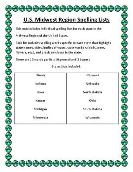 U.S. Midwest Region Spelling Lists