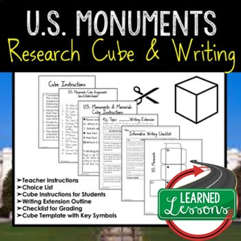 U.S. Monuments Activity Research Cube with Writing Extension Activity Pack
