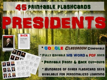 U.S. PRESIDENTS - 45 Printable front/back FLASHCARDS