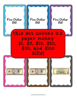 U.S. Paper Money Recognition Card Game With 6 Different Bills
