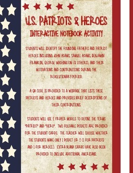 U.S. Patriots and Heroes Interactive Notebook Activity