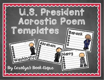 U.S. President Acrostic Poem Templates