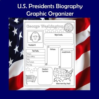 U.S. Presidents Biography Research Graphic Organizer 1 Page