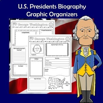 U.S. Presidents Biography Research Graphic Organizer 2 Page