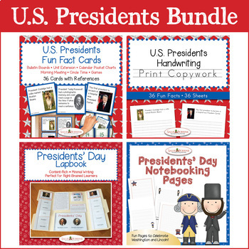 U.S. Presidents Bundle - Fun Fact Cards, Print Copywork, Lapbook, Writing Pages