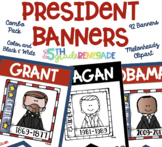 U.S. Presidents Color and Black & White *90 Banners*  Melonheadz Clipart