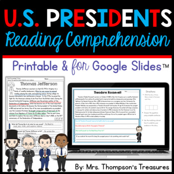 Presidents Day - Finding Text Evidence Reading Comprehension Passages