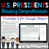Presidents Day - Finding Text Evidence Reading Comprehensi