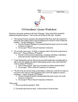U.S. Presidents Quotes on Music Worksheet