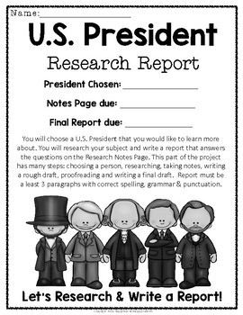 U.S. Presidents Report w/ Optional Display: A Fun President Research Project!