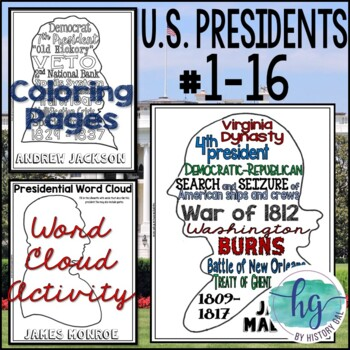 U.S. Presidents Coloring Pages and Word Cloud Activity Washington-Lincoln Bundle