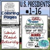 U.S. Presidents Word Cloud Activities Bundle 1789-1865 (Wa