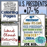 U.S. Presidents Coloring Pages and Word Cloud Activity Bundle (Johnson-Trump)