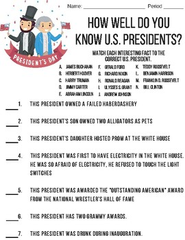 U.S. Presidents Trivia - First Day of School Activity