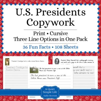 U.S. Presidents Unit - Copywork - Print - Handwriting