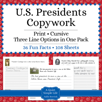 U.S. Presidents Unit - Copywork - Print - Handwriting